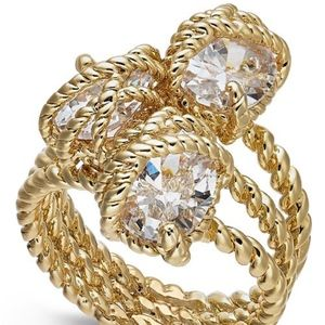 ✨Gold-Tone Three Stone Wrapped Twisted Rope Ring 6